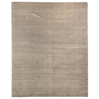 Exquisite Rugs Herringbone Dark Grey Viscose Rug (14' x 18')