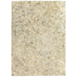 Exquisite Rugs Stitched Blocks Ivory Leather Hair-on-hide Rug (13'6 x 17'6)