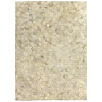 Exquisite Rugs Stitched Blocks Ivory Leather Hair-on-hide Rug - 13'6 x 17'6
