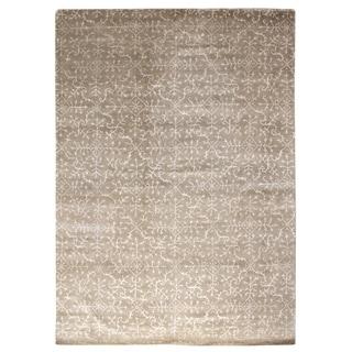 Exquisite Rugs Ivory Wool/Silk Tibetan-weave Rug (13' x 17')