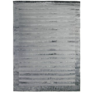 Exquisite Rugs Grey/Blue Viscose Wide Stripe Rug (12' x 15')