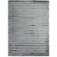 Exquisite Rugs Wide Stripe Grey / Blue Viscose Rug - 12' x 15'