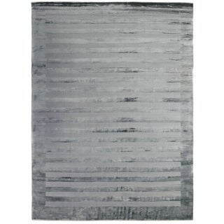 Exquisite Rugs Wide Stripe Grey / Blue Viscose Rug - 12' x 15'