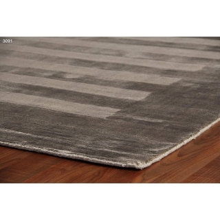 Exquisite Rugs Wide Stripe Dark Grey Viscose Rug (12' x 15')