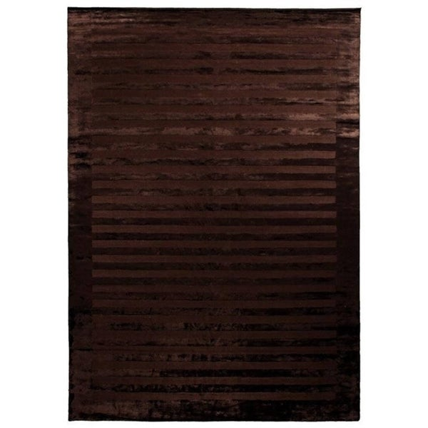 Exquisite Rugs Wide Stripe Chocolate Viscose Rug - 12' x 15'