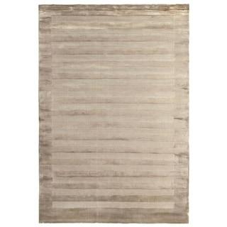 Exquisite Rugs Wide Stripe Beige Viscose Rug (12' x 15')