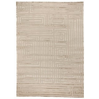 Exquisite Rugs Metro Velvet Beige New Zealand Wool and Viscose Rectangular Hand-knotted Rug (12' x 15')