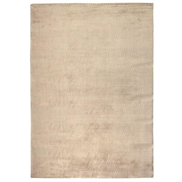 Exquisite Rugs Herringbone Silver Viscose Rug (12' x 15')