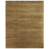 Exquisite Rugs Herringbone Khaki Viscose Rug - 12' x 15'