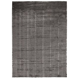 Exquisite Rugs Greek Key Grey New Zealand Wool and Bamboo Silk Rug - 12' x 15'