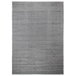 Exquisite Rugs Greek Key Aqua New Zealand Wool and Bamboo Silk Rug (12' x 15')