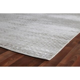 Exquisite Rugs Board Silver Viscose Rug (12' x 15')
