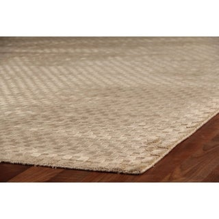 Exquisite Rugs Board Handmade Weave Light-beige Viscose Latex-free Rug (12' x 15')