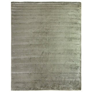 Exquisite Rugs Blue Viscose Hand-made Rug (12' x 15')