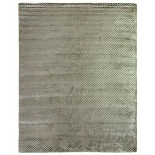 Exquisite Rugs Board Blue Viscose Rug (12' x 15')