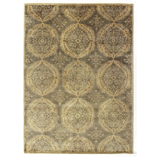 Exquisite Rugs Royal Damask Grey Wool Hand-knotted Rug (12' x 15')
