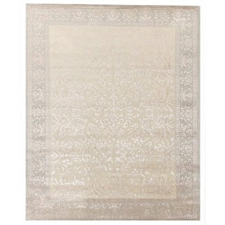 Exquisite Rugs Tibetan Weave Ivory New Zealand Wool and Silk Rectangular Hand-knotted Rug (12' x 15')