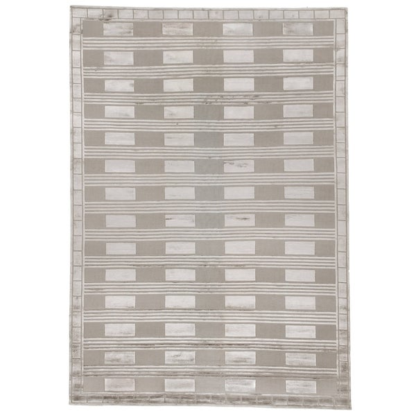 Exquisite Rugs Metro Velvet Silver New Zealand Wool and Silk Rug - 12' x 15'