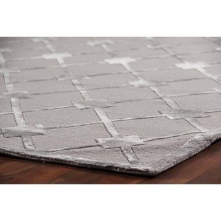 Exquisite Rugs Metro Silver Silk, Wool Hand-knotted Rug (12' x 15')