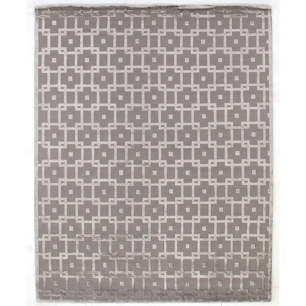 Exquisite Rugs Metro Velvet Silver New Zealand Wool and Viscose Rug (12' x 15') - 12' x 15'