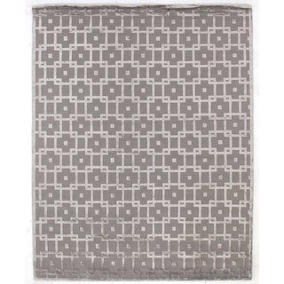 Exquisite Rugs Metro Velvet Silver New Zealand Wool and Viscose Rug (12' x 15')