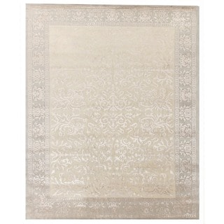 Exquisite Rugs Ivory New Zealand Wool and Silk Tibetan Weave Hand-spun Rug (11'6 x 15')