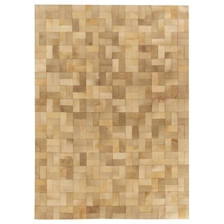 Exquisite Rugs Stitched Blocks Ivory / Gray Leather Hair-on Hide Rug (11' 6 x 14' 6) - 11'6'' X 14'6''