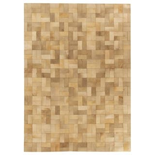 Exquisite Rugs Sched Blocks Ivory Gray Leather Hair On Hide Rug 11