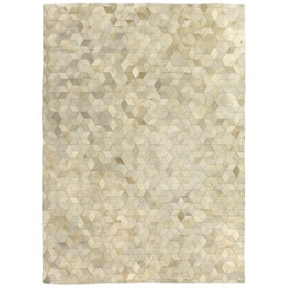 Exquisite Rugs Sched Blocks Ivory Leather Hair On Hide Rug 11 6 X