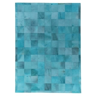 Exquisite Rugs Stitched Blocks Turquoise Leather Hair-on-hide Rug (11'6 x 14'6)