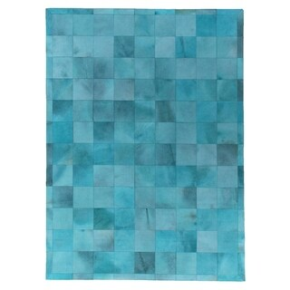 Exquisite Rugs Stitched Blocks Turquoise Leather Hair-on-hide Rug (11'6 x 14'6) - 11'6 x 14'6