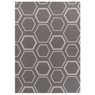 Exquisite Rugs Honeycomb Dhurrie Silver / White New Zealand Wool Rug - 11'6'' X 14'6''