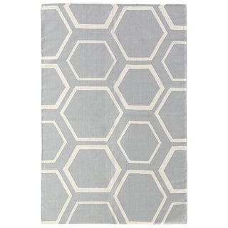 Exquisite Rugs Flatweave Blue / White New Zealand Wool Rug (11'6 x 14'6 ) - 11'6'' X 14'6''