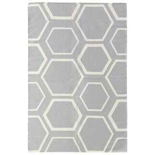 Exquisite Rugs Flatweave Blue / White New Zealand Wool Rug - 11'6'' X 14'6''