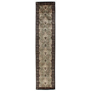 Exquisite Rugs Tibetan Weave Grey/Beige Hand-spun New Zealand Wool and Silk Runner Rug (3'3 X 23'3)