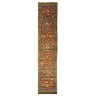 Exquisite Rugs Tabriz Rust / Green New Zealand Wool Runner Rug (2'6 x 8' Runner) - 2'6 x 8'