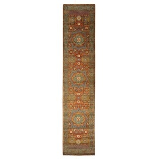 Exquisite Rugs Tabriz Rust / Green New Zealand Wool Runner Rug - 2'6 x 8'