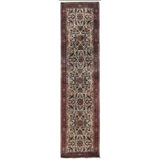 Exquisite Rugs Ferahan Ivory New Zealand Wool Rectangular Hand-knotted Runner (2'6 x 19')
