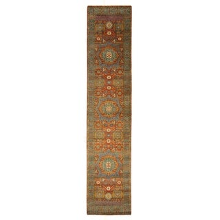 Exquisite Rugs Tabriz Rust/Green New Zealand Wool Runner Rug (2'6 x 12')