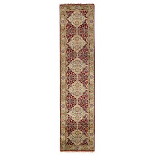 Exquisite Rugs European Polonaise Burgundy New Zealand Wool Runner Rug (2'6 x 12' Runner) - 2'6 x 12'
