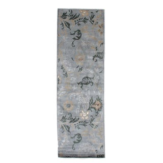 Exquisite Rugs Milano Light Blue Wool/Silk Art Runner Rug (2'6 x 10')