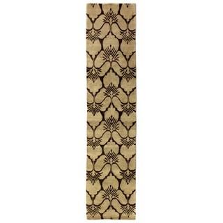 Exquisite Rugs Metropolitan Chocolate New Zealand Wool Runner Rug - 2'6 x 10'