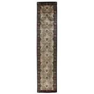 Exquisite Rugs Grey/Beige Hand-spun New Zealand Wool and Silk Tibetan Weave Runner Rug (2'6 x 10')