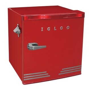 Igloo Retro Compact Fridge with Bottle Opener, Red
