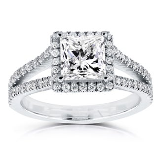 Annello by Kobelli 14k White Gold Certified 2 1/4ct TDW Princess Diamond Halo Long Split Shank Ring (5 options available)