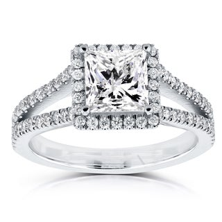 Annello by Kobelli 14k White Gold Certified 2 1/4ct TDW Princess Diamond Halo Long Split Shank Ring