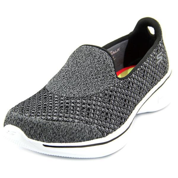 Women  x27 s Skechers GOwalk 4 Kindle Slip On Walking Shoe Black White f2cbe1ee10