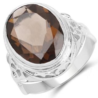 Malaika 0.925 Sterling Silver 7.8-carat Genuine Smoky Quartz Ring