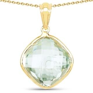 Malaika 14k Yellow Goldplated 0.925 Sterling Silver 9.8-carat Genuine Green Amethyst Pendant