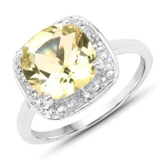 Malaika .925 White Sterling Silver 3.02-carat Genuine Lemon/White Topaz Ring